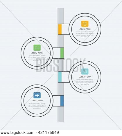 4 Data Infographics Tab Paper Thin Line Circle Template. Vector Illustration Abstract Background. Ca