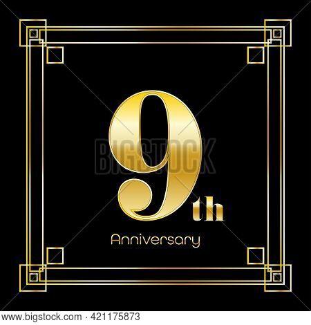 Number Nine Logo Design With Square Ornament, Luxury Golden Design, Anniversary Concept, Vector Illu