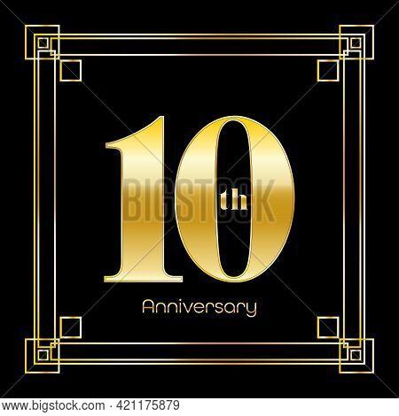 Number Ten Logo Design With Square Ornament, Luxury Golden Design, Anniversary Concept, Vector Illus