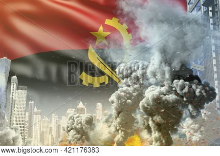 Large Smoke Column With Fire In The Modern City - Concept Of Industrial Accident Or Terrorist Act On