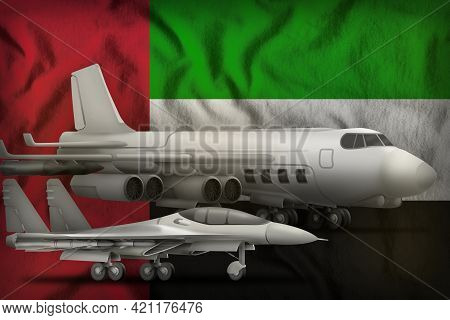 Air Forces On The United Arab Emirates Flag Background. United Arab Emirates Air Forces Concept. 3d
