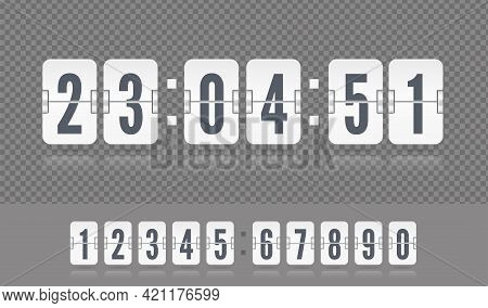 Coming Soon Web Page With Flip Time Counter. White Scoreboard Number Font. Vector Modern Ui Design O