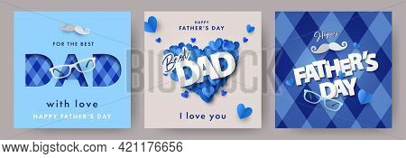 Set Of Father's Day Greeting Cards In Modern Paper Cut Style. Fathers Day Holiday Illustration For G