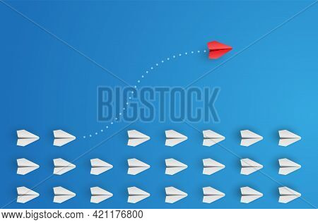 Individual And Unique Leader Red Paper Plane Flies To The Side. Individuality Concept. Think Differe