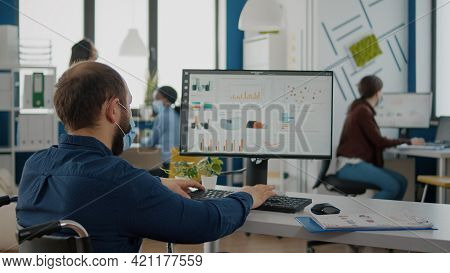 Immobilized Business Man With Protective Mask Working In New Normal Business Financial Company Typin