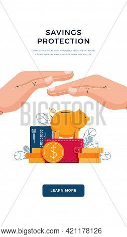Savings Protection Banner. Businessman Is Saving The Wealth. Money Protection, Financial Insurance,