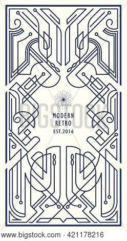 Modern Retro Vintage Linear Thin Line Geometric Shape Art Deco Design Frame Badge