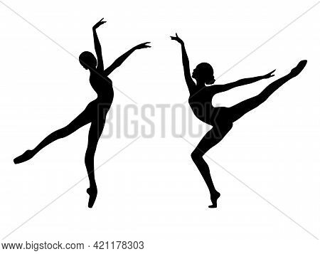 Abstract Black Stencil Silhouettes Of Slender Dancer In Move, Hand Drawing Vector Illustration