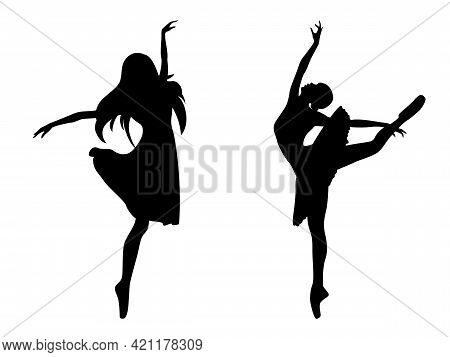 Abstract Attractive Slender Ladies Dancer Black Stencil Silhouettes, Hand Drawing Vector Illustratio