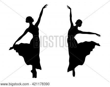 Abstract Attractive Slender Ladies Dancer In Long Dress, Black Stencil Silhouettes, Hand Drawing Vec