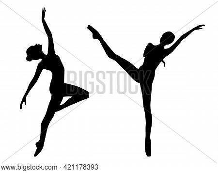 Abstract Black Stencil Silhouettes Of Slender Attractive Ballerinas In Move, Hand Drawing Vector Ill