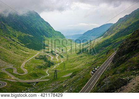 Serpentine Of Transfagarasan Road In Mountains Of Romania. Gorgeous Travel Destination In Dramatic W