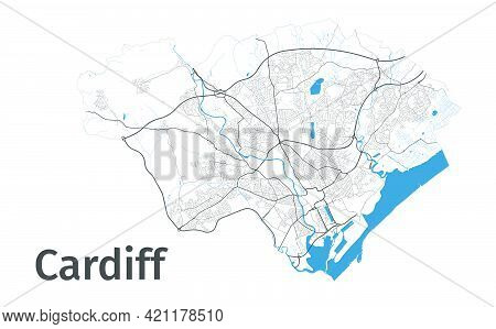 Cardiff Map. Detailed Map Of Cardiff City Administrative Area. Cityscape Panorama. Royalty Free Vect