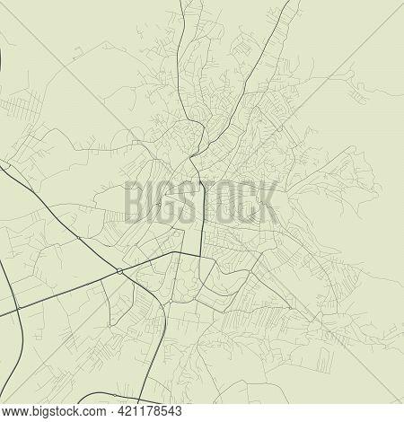 Pristina Map. Detailed Vector Map Of Pristina City Administrative Area. Cityscape Poster Metropolita