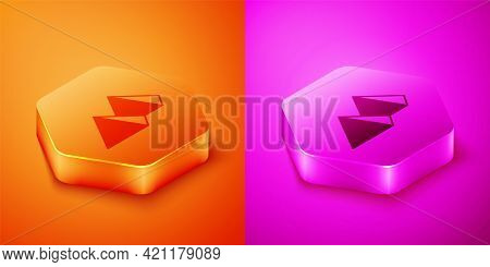 Isometric Egypt Pyramids Icon Isolated On Orange And Pink Background. Symbol Of Ancient Egypt. Hexag