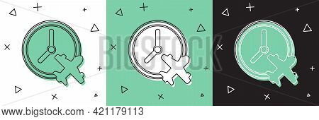 Set Clock With Airplane Icon Isolated On White And Green, Black Background. Designation Of Time Befo