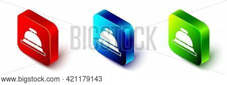 Isometric Hotel Service Bell Icon Isolated On White Background. Reception Bell. Red, Blue And Green