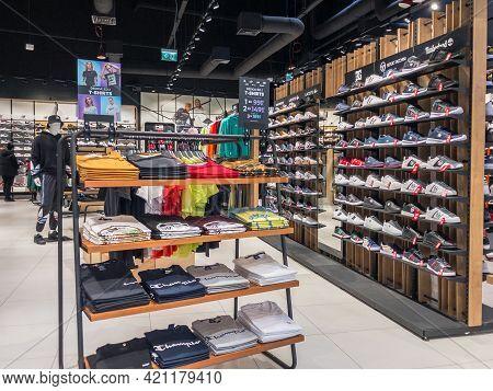 Zabrze. Poland 8 Maj 2021. Shopping Interior In Platan City Center. People Shopping In Modern Commer
