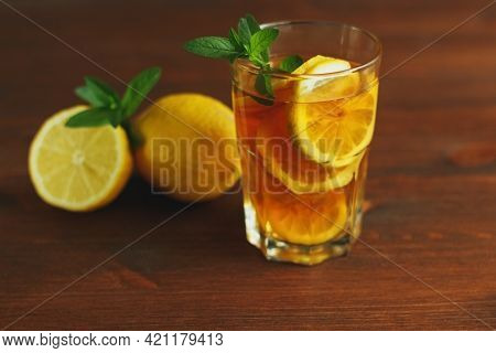 Cold Tea With Lemon And Mint. .a Summer Drink.