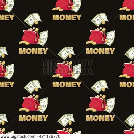 Dollar Bills. Red Wallet. Money Background. Dollars Signs, Gold Coins On Black Background. Design Fo