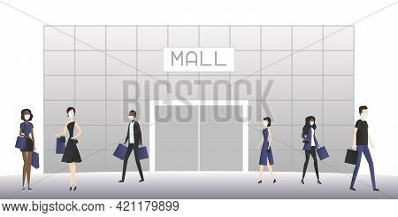 Shopping Mall And People In Masks. Cartoon. Vector Illustration.