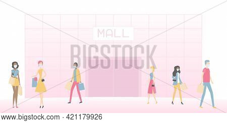 Mall And People In Face Masks. Shopping. Vector Illustration.