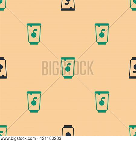 Green And Black Yogurt Container Icon Isolated Seamless Pattern On Beige Background. Yogurt In Plast