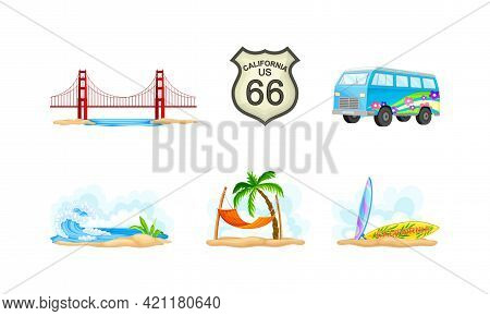 California As Travel Destination With Palm Trees And Surfboards At Sea Shore Vector Composition Set