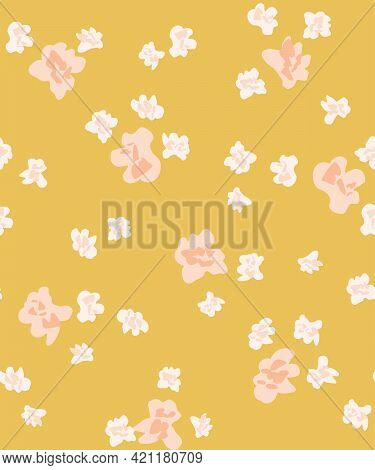 Sloppy Flower Blobs Seamless Vector Pattern. Scattered Blobs Of Painted Flowers Like Popcorns In Pin