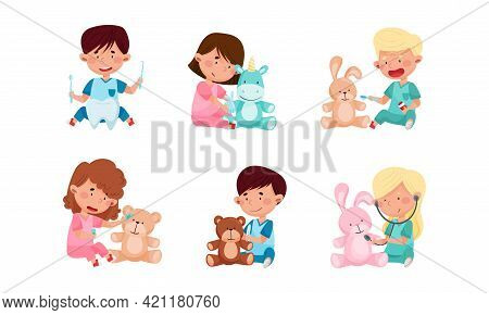 Cheerful Kids In Medical Wear Playing Doctors And Nurses Vector Illustration Set