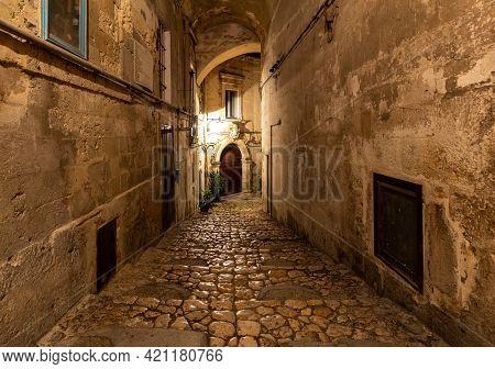 Cobblestone Street In The Sassi Di Matera A Historic District In The City Of Matera. Basilicata. Ita