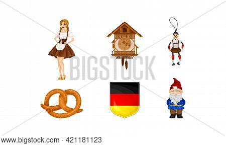 Germany Attributes With Female Dressed In Ethnic Bavarian Costume And Salty Pretzel Vector Set
