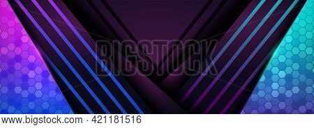 Modern Futuristic Background With Purple And Shinny Blue Concept. Graphic Design Element.