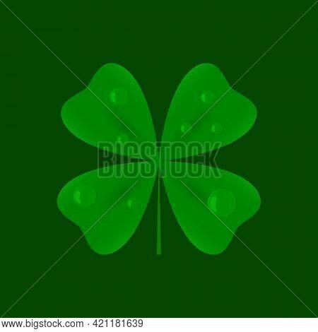 Four Leaf Clover. Luck Symbol. Vector Illustration.