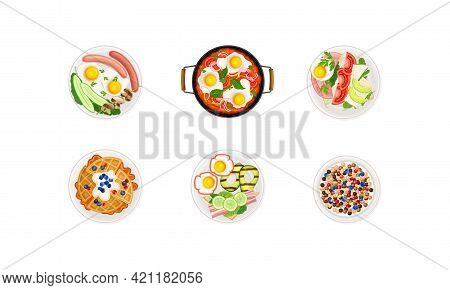 Breakfast Food With Waffle, Cereals And Scrambled Eggs Served On Plate Above View Vector Set