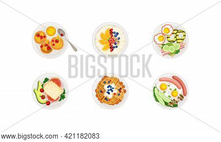 Breakfast Food With Pancakes And Scrambled Eggs Served On Plate Above View Vector Set