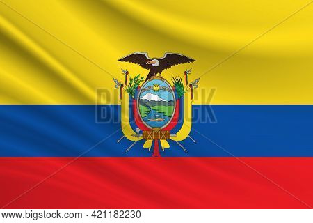 Flag Of Ecuador Fabric Texture Of The Flag Of Ecuador.