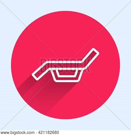 White Line Sunbed Icon Isolated With Long Shadow. Sun Lounger. Red Circle Button. Vector