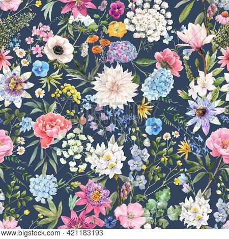 Beautiful Vector Seamless Floral Pattern With Watercolor Hand Drawn Gentle Summer Flowers. Stock Ill