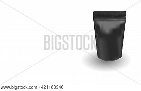 Matte Black Ziplock Bag Stand Up On White Background