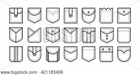 Different Types Of Patch Pockets With Flap, Button And Pleat. Men And Women Shirt, Jean Pockets. Cas