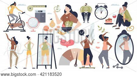 Weight Loss Set With Fit Body And Shape Control Items Collection Tiny Person Concept. Diet Plan For