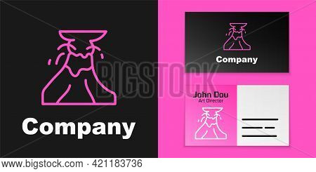 Pink Line Volcano Eruption With Lava Icon Isolated On Black Background. Logo Design Template Element