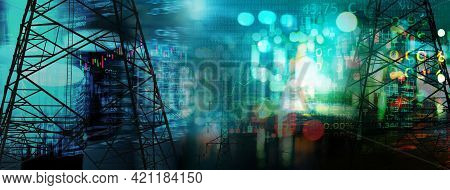 Market Stock Graph And Information With City Light And Electricity And Energy Facility Industry And