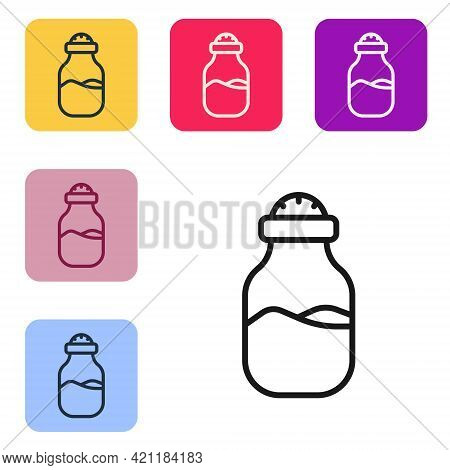 Black Line In Can Icon Isolated On White Background. Seasoning Collection. , Condiments In A Glass C