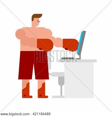 Online Fight. Aggressive Opponent In Internet. Man In Boxing Gloves Hits Screen. Dispute And Feud On