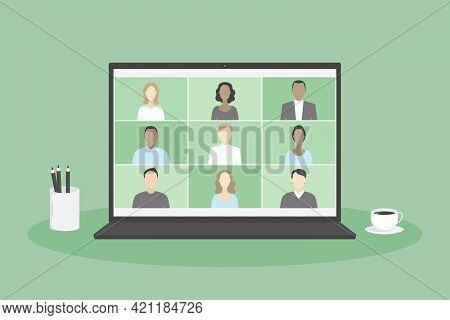 Group Video Call App On Laptop. Distant Work. Vector Illustration.