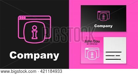 Pink Line Computer Monitor With Text Faq Information Icon Isolated On Black Background. Frequently A
