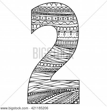 Zentangle Stylized Alphabet - Numeral 2. Black White Hand Drawn Doodle. Ethnic Pattern. African, Ind