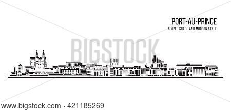Cityscape Building Abstract Simple Shape And Modern Style Art Vector Design - Port-au-prince